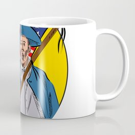 American Patriot Holding American Flag Drawing Coffee Mug