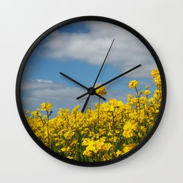 Rape yellow flowers Wall Clock