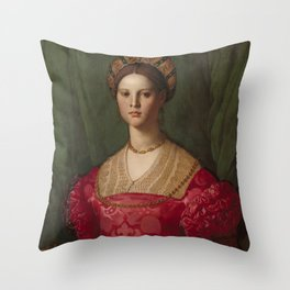 A Young Woman and Her Little Boy OIl Painting by Agnolo Bronzino Throw Pillow