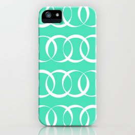 Menthol green and white elegant intersecting circles pattern iPhone Case