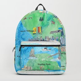 Vancouver British Columbia Canada Travel Poster Favorite Map Backpack