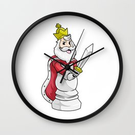 King Chess piece at Chess with Sword Wall Clock