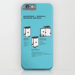 Buchbinden – Merkmale Broschur und Buch (in German) iPhone Case
