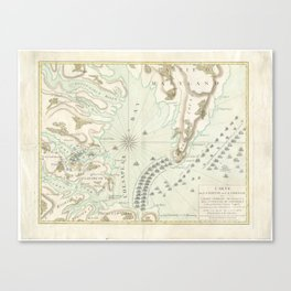 Vintage Map of The Battle of Yorktown (1781) Canvas Print