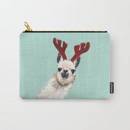 Llama Reindeer in Green Carry-All Pouch