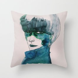 Blue-Green Skin Throw Pillow