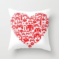 gaming Throw Pillows featuring Gaming Love by Tombst0ne