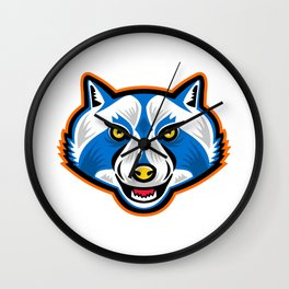 North American Raccoon Mascot Wall Clock