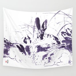 Rabbits in the woods - purple Wall Tapestry