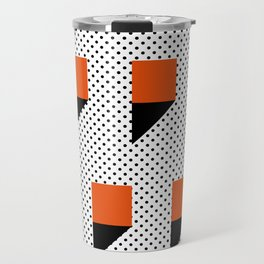 A lot of orange 3d Commas, planted in a carpet with black dots. Travel Mug