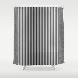 Midnight Black and White Vertical Sailor Stripes Shower Curtain