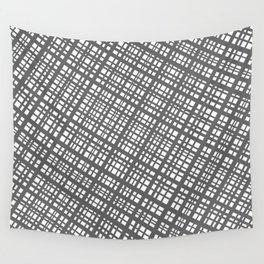 Bauhaus Grid, diagonal Gray & White pattern Wall Tapestry