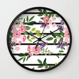 Pink roses bouquets with greenery on the striped background Wall Clock