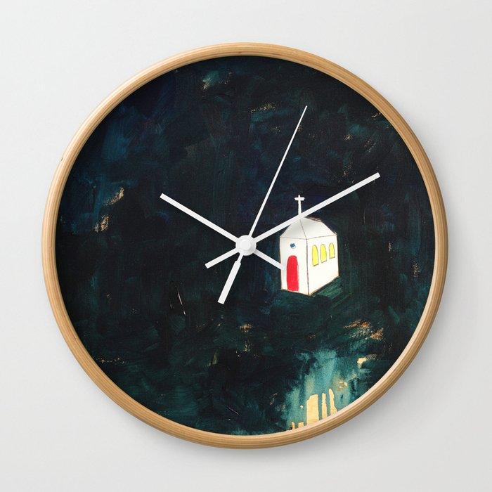Church on Dark Wall Clock