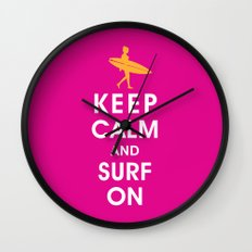 Keep Calm and Surf On (Surfer Girl) Wall Clock