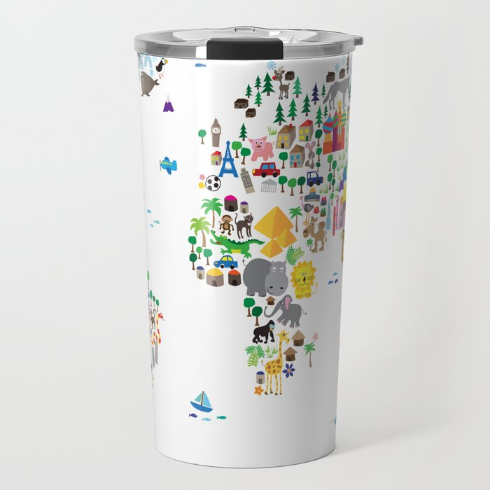 Animal Map of the World for children and kids Travel Mug