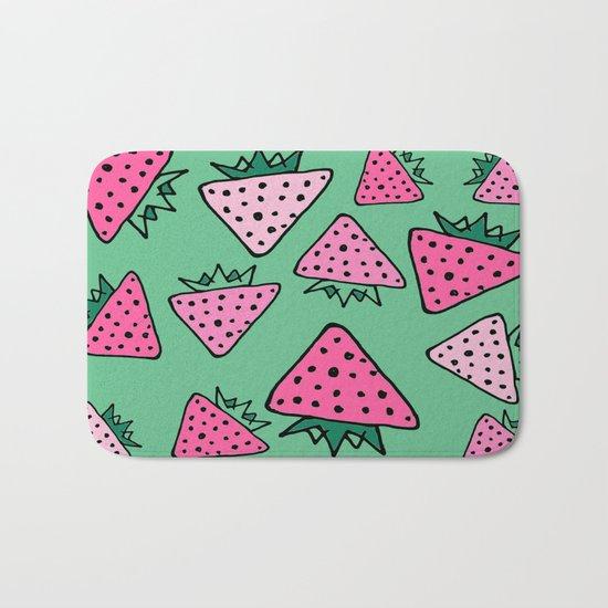 strawberry green Bath Mat