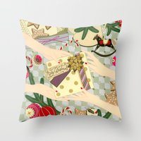 gift card Throw Pillows featuring Merry Christmas gift by Yuliya