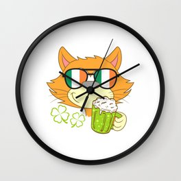 Purchase This St. Patrick's Cat Four-leaf Clover Tee Sunglasses T-shirt Design Irish Celebrate Party Wall Clock