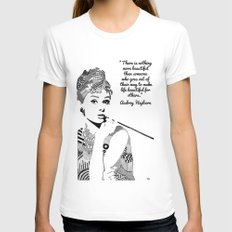 AUDREY HEPBURN MEDIUM Womens Fitted Tee White