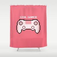 gamer Shower Curtains featuring GIRL GAMER by Matty Spencer