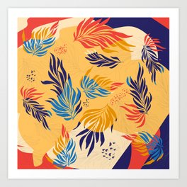 Primary Colors Leaves Art Print