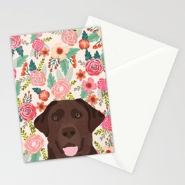 Chocolate Lab florals dog breed portrait pet art dog lover gifts labrador retriever Stationery Cards