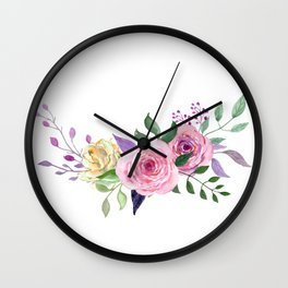 Posy YELLOW AND RED Painted - bouquet, nosegay, flower Wall Clock