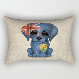 Cute Puppy Dog with flag of Turks and Caicos Rectangular Pillow