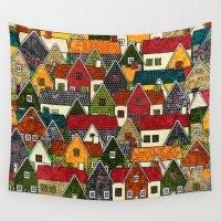 ed sheeran Wall Tapestries featuring Small Mosaic Village by Klara Acel