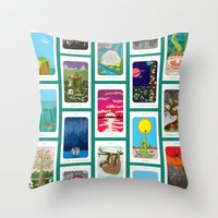 tarot Throw Pillows featuring Idiosyncradeck Tarot by j-bott