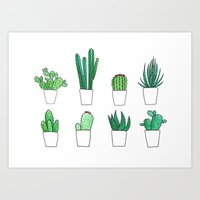 cacti Art Prints featuring Cacti by Aferova