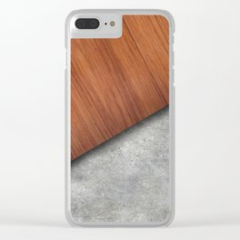 Wood and concrete mix Clear iPhone Case