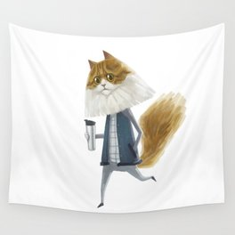 A cat holding a tumbler Wall Tapestry