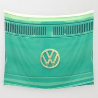 vw bus Wall Tapestries featuring Groovy VW by RDelean