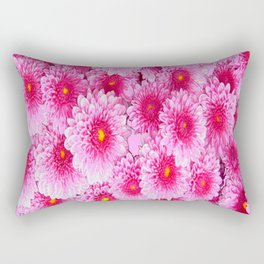 Decorative Pink Mums Colored Art Rectangular Pillow
