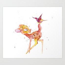 Bambi Meets Butterfly Art Print