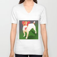 jack russell V-neck T-shirts featuring Jack Russell by Ken Surman