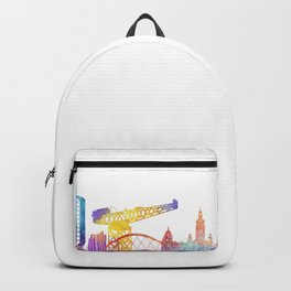 Glasgow landmarks watercolor poster Backpack