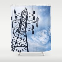 telephone Shower Curtains featuring telephone wires by Molly C. Werts