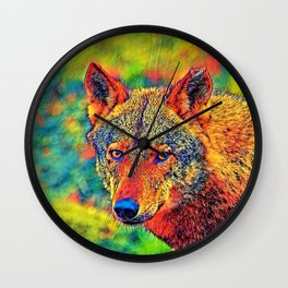 AnimalColor_Wolf_001_by_JAMColors Wall Clock