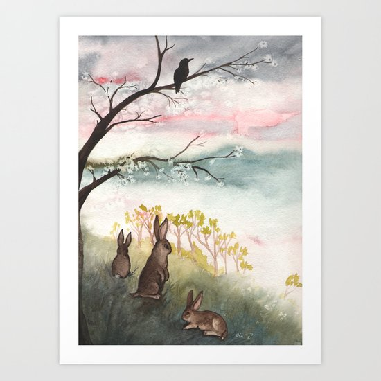 Three Rabbits and Plum Blossoms Art Print