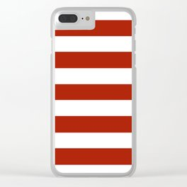 Rufous - solid color - white stripes pattern Clear iPhone Case