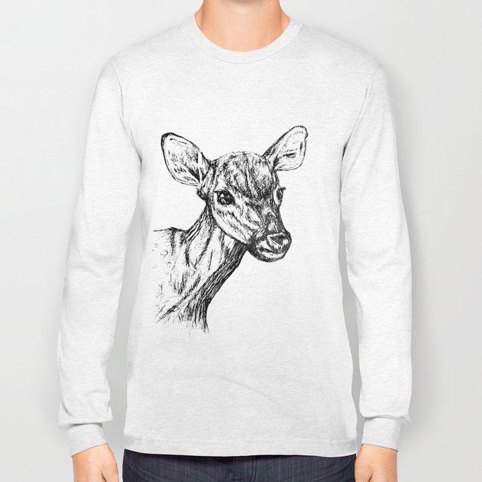Deer - Black & White Long Sleeve T-shirt