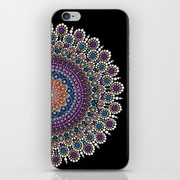 Purple, Blue and Orange Flowering Mandala iPhone Skin