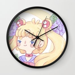 Sailor Moon & Peonies Wall Clock