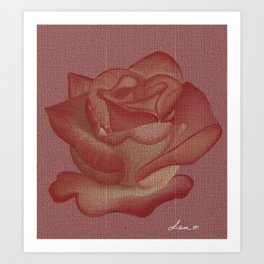 Elegant Pink Rose On Canvas Style Art Print