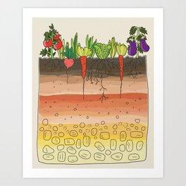Earth soil layers vegetables garden cute educational illustration kitchen decor print Art Print