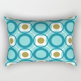 Mid Century Modern Retro Pattern of Geometric Shapes Teal Blue and Gold Circles Rectangular Pillow