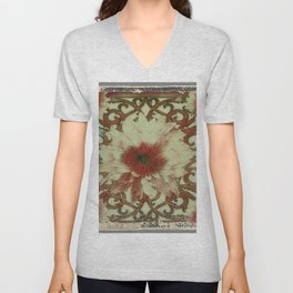 Grungy Floral Rustic Cream-Brown  Abstract Unisex V-Neck